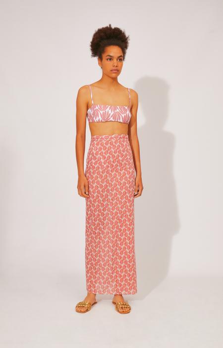 Foliage Print Wrap Skirt
