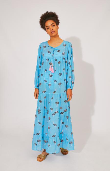 Ostrich Print Long Dress