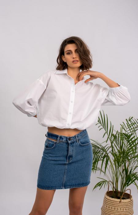 Carla Cut Out Mini Denim Skirt
